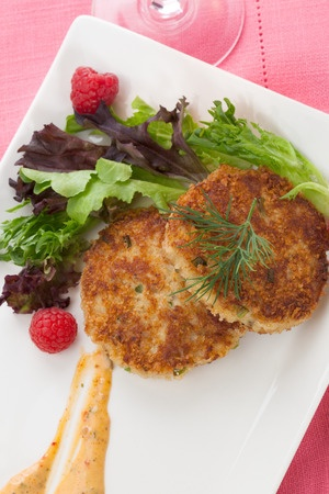 Salmon Cakes on Salad GF DF